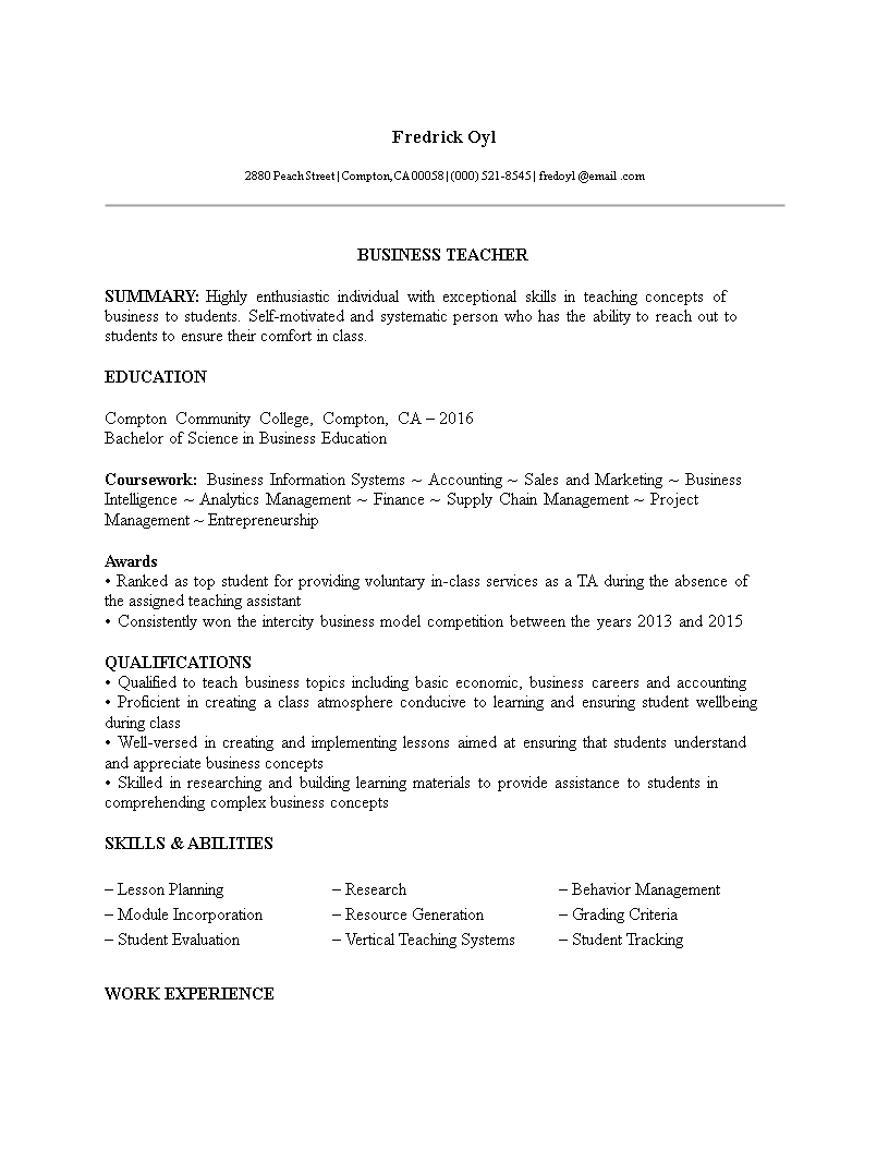 business teacher resume no experience