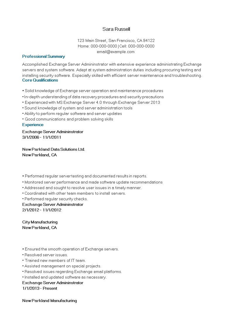免费exchange Server Manager Resume 样本文件在allbusinesstemplates Com