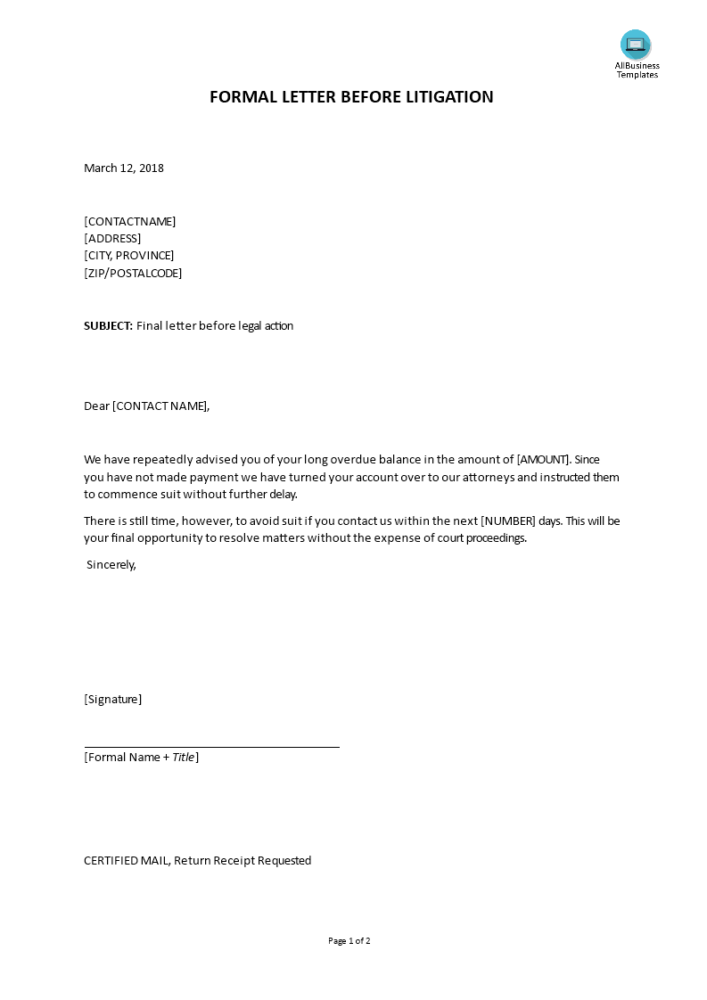 Letter Before Action >> Formal Final Letter Before Legal Action Templates At