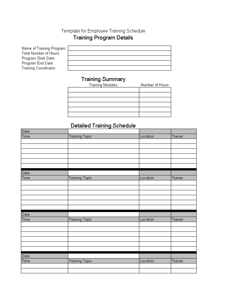free employee training schedule templates at