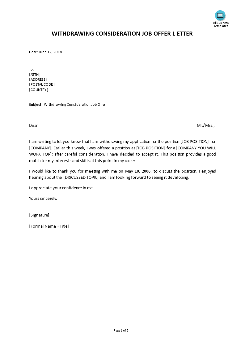 withdrawing your consideration job offer letter main image download template