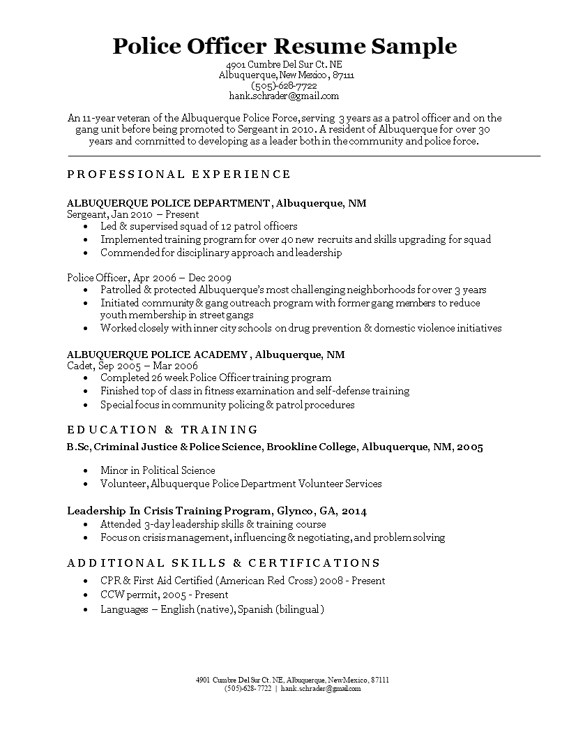 free police officer resume sample