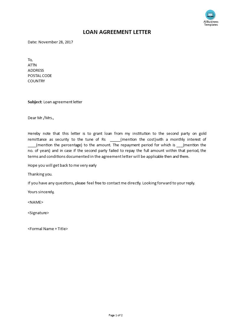 Free Loan Agreement Letter | Templates at allbusinesstemplates.com