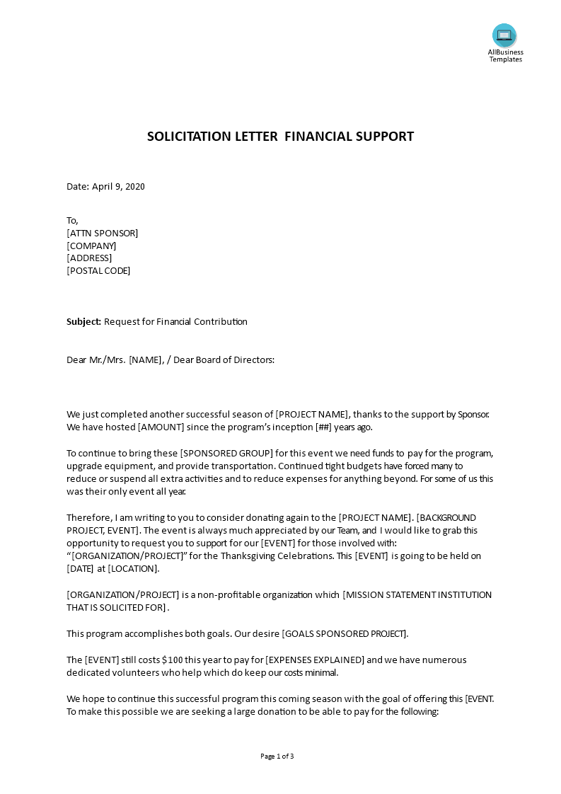 Letter For Financial Help from www.allbusinesstemplates.com