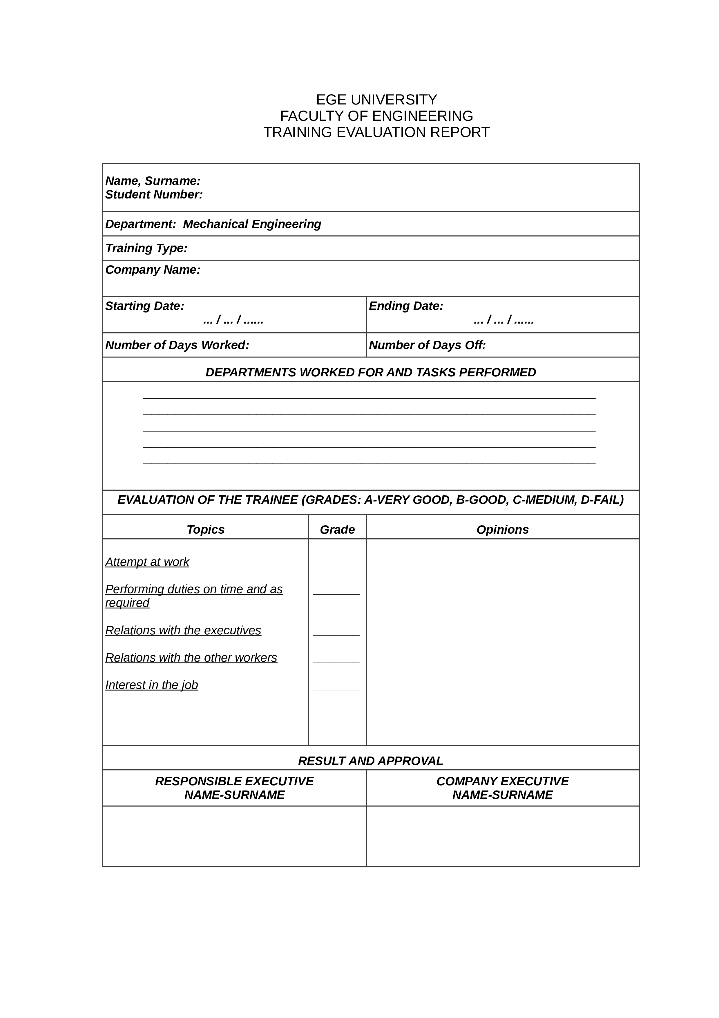 free training evaluation form sample templates at