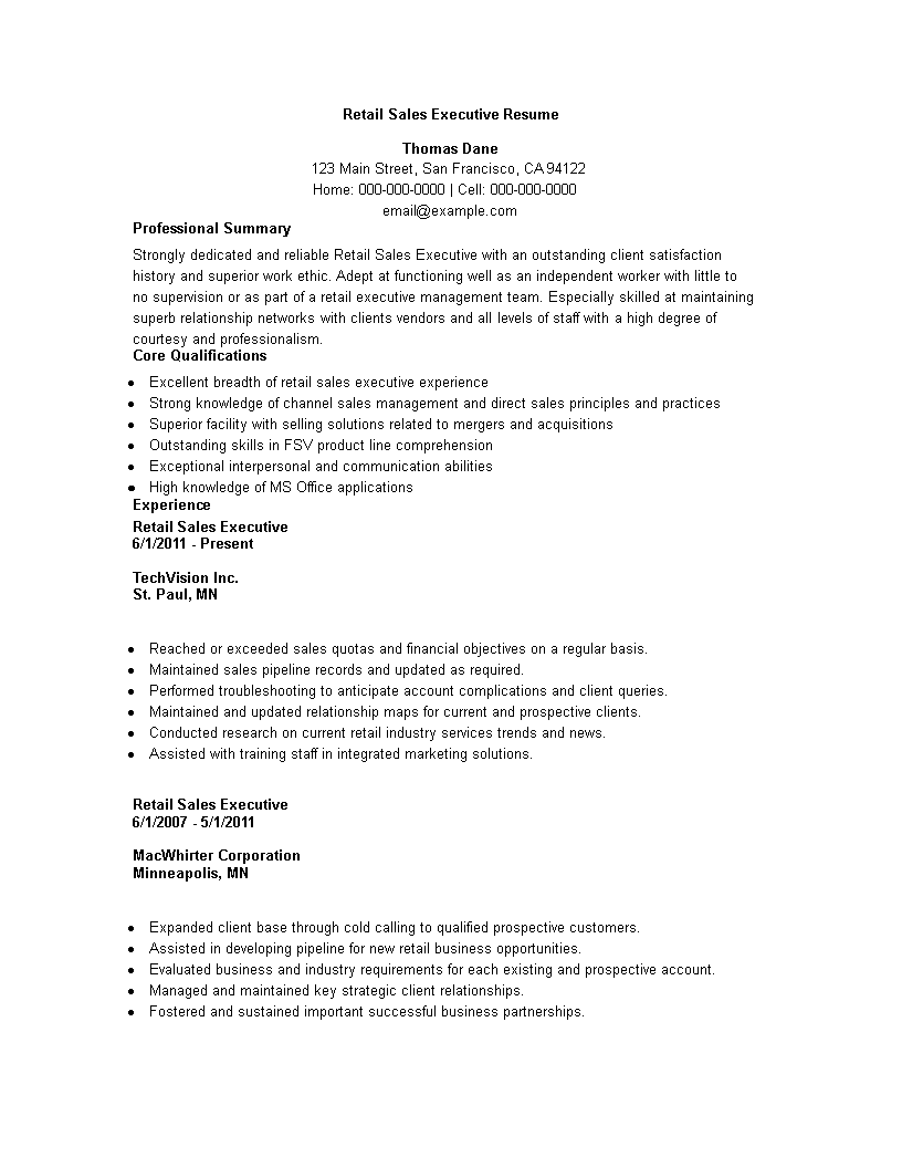 Retail Sales Executive Resume Sample