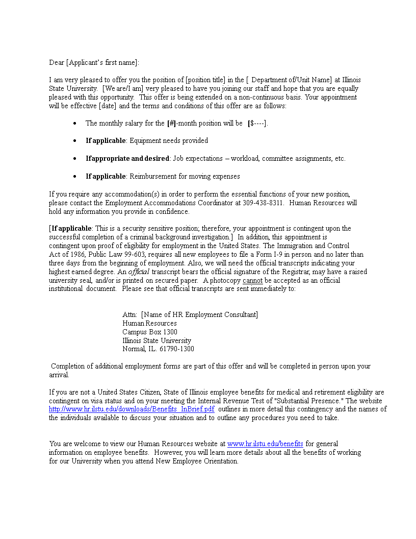 Hr consultant offer letter for Consultant offer letter template