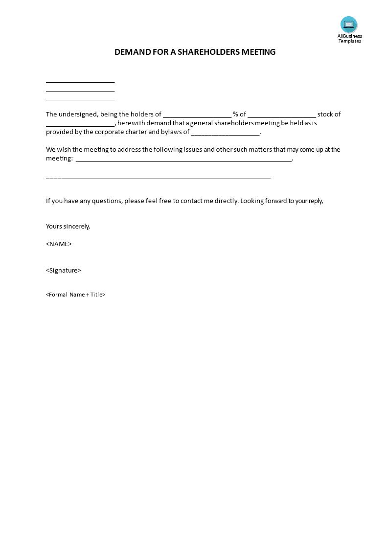 Demand Letter Shareholders Meeting Main Image