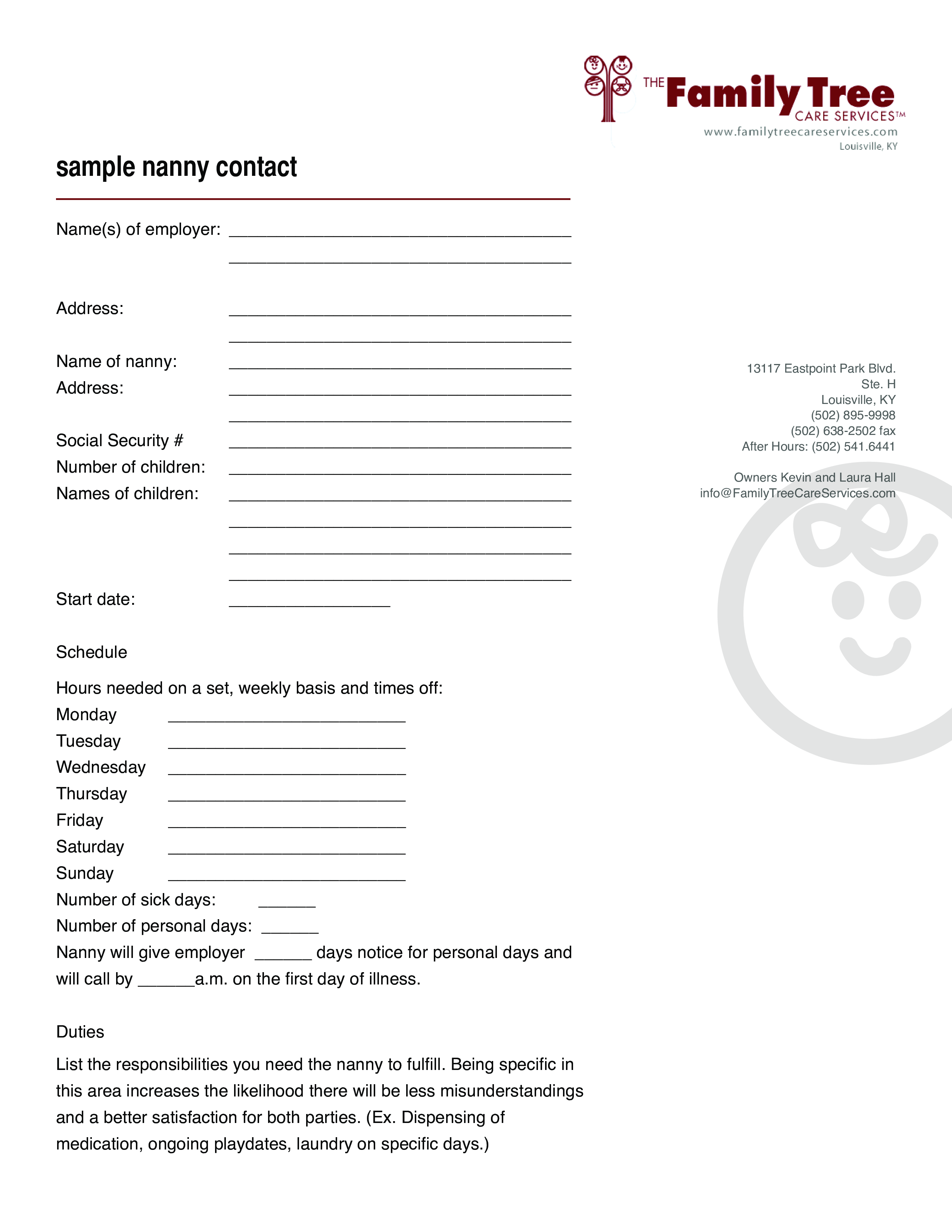 Free Family Tree Nanny Contract Templates At Allbusinesstemplates
