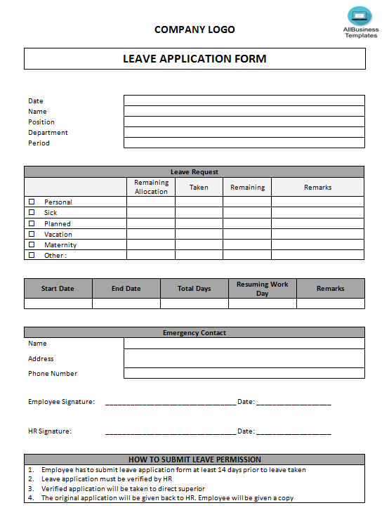 Leave Application Form main image