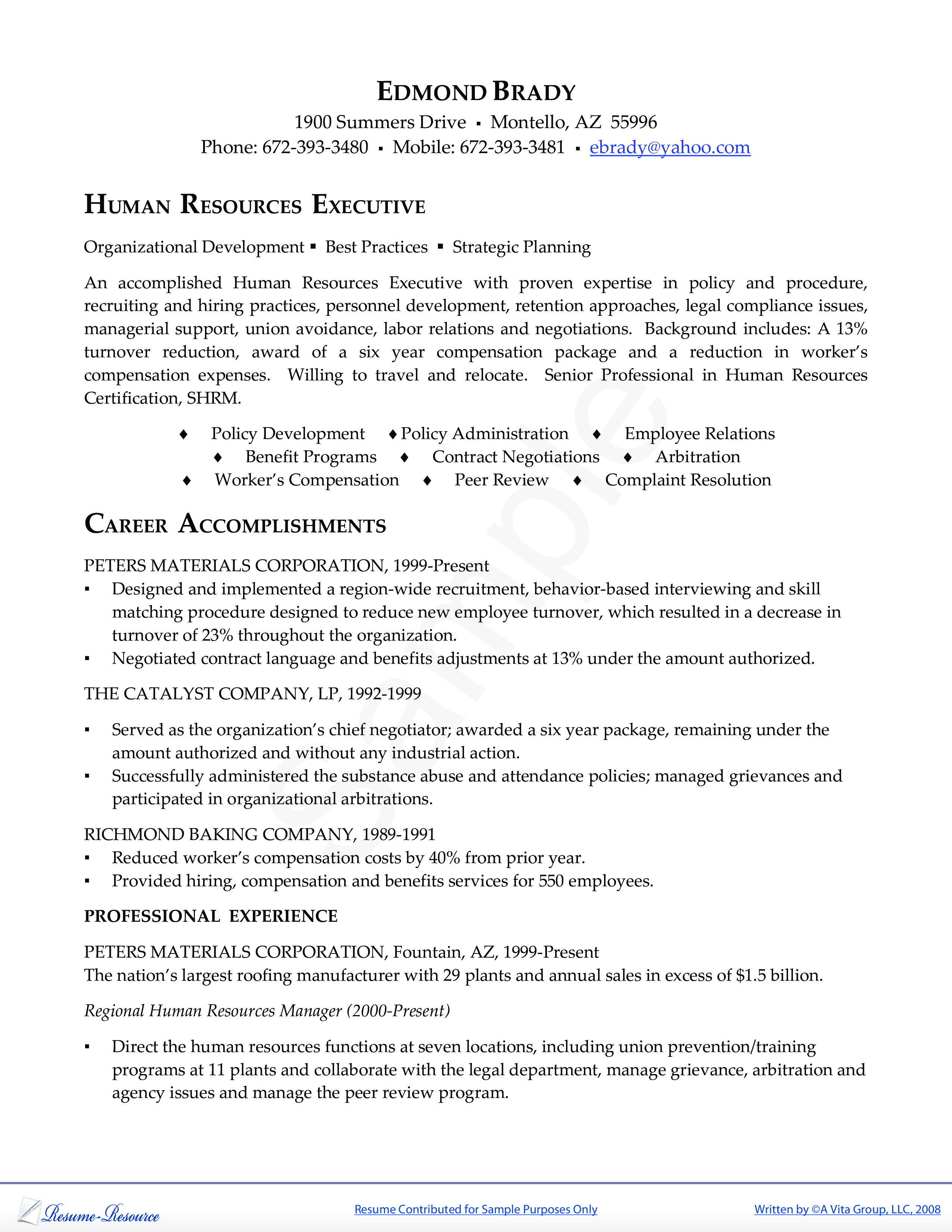 Free Hr Executive Resume  Templates At AllbusinesstemplatesCom