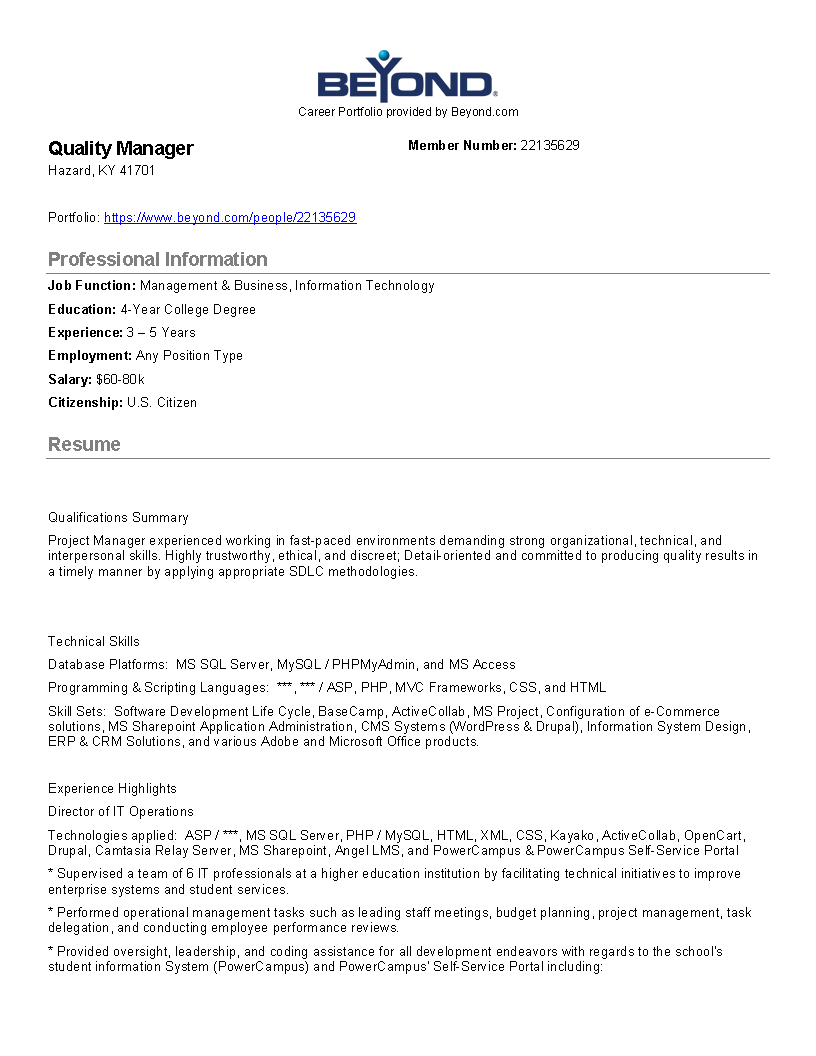 Free it quality manager job description templates at it quality manager job description main image download template friedricerecipe Gallery