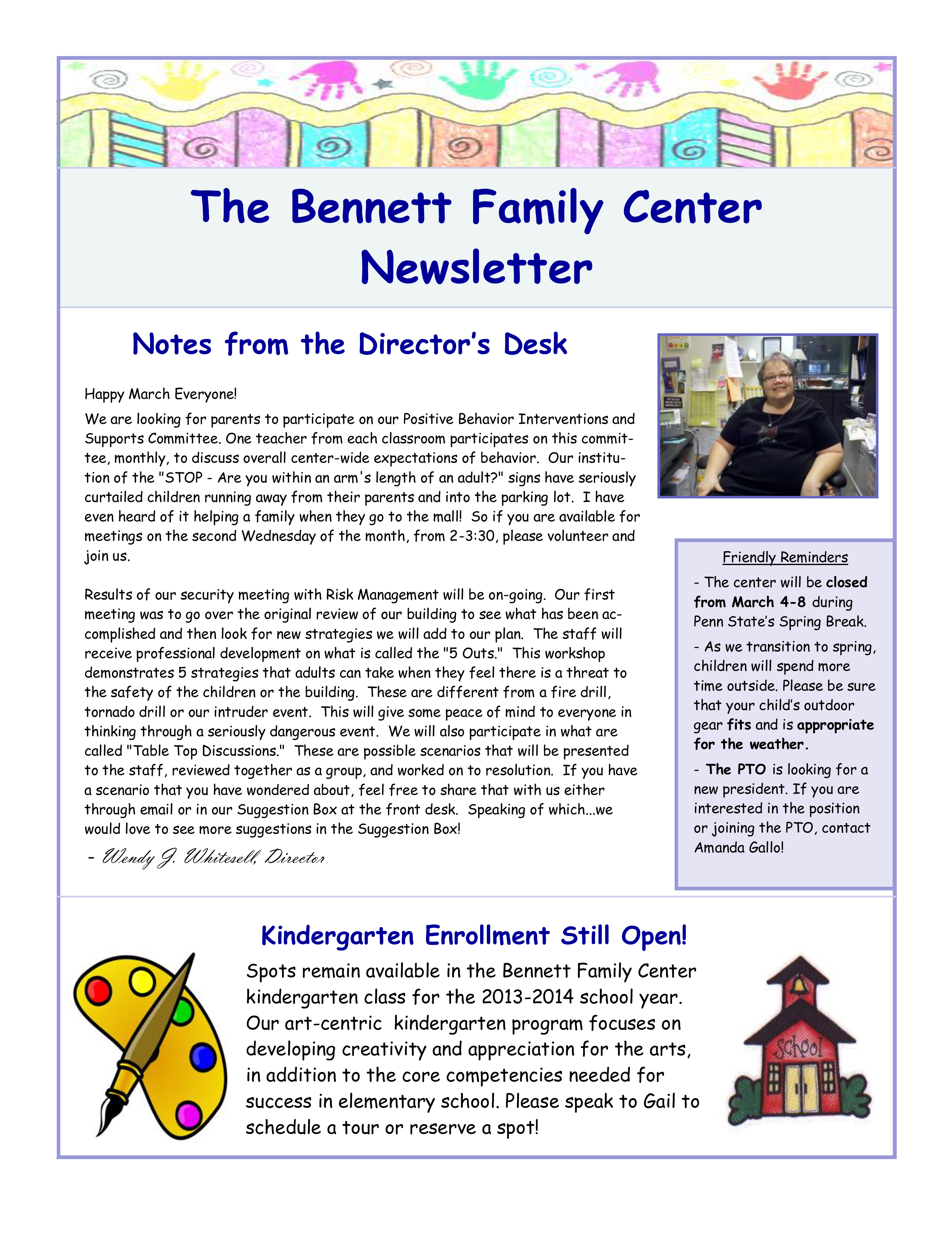 free family center newsletter templates at