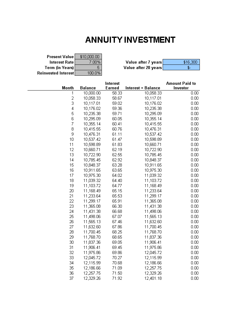 Annuity Investment Calculator main image