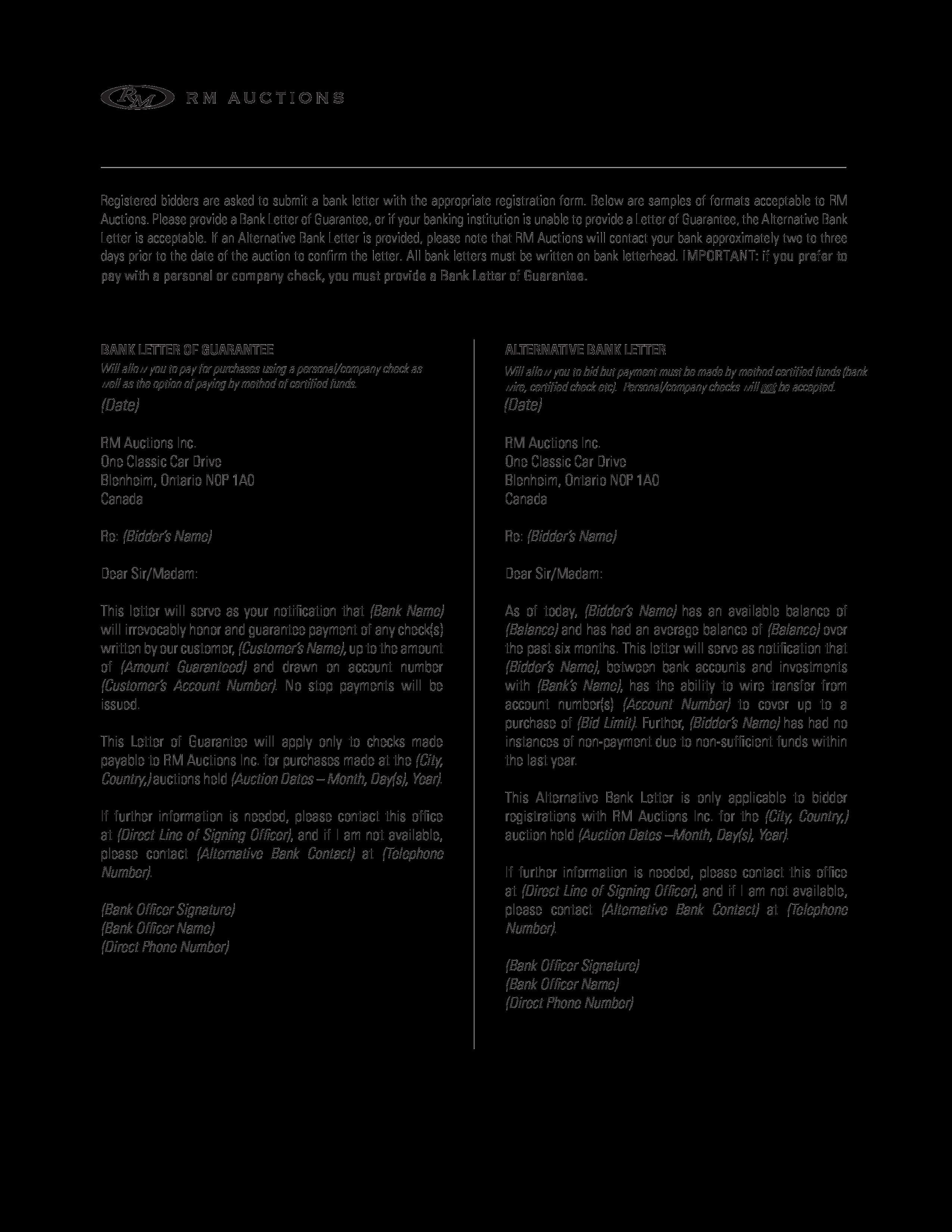 Free Bank Letter Format