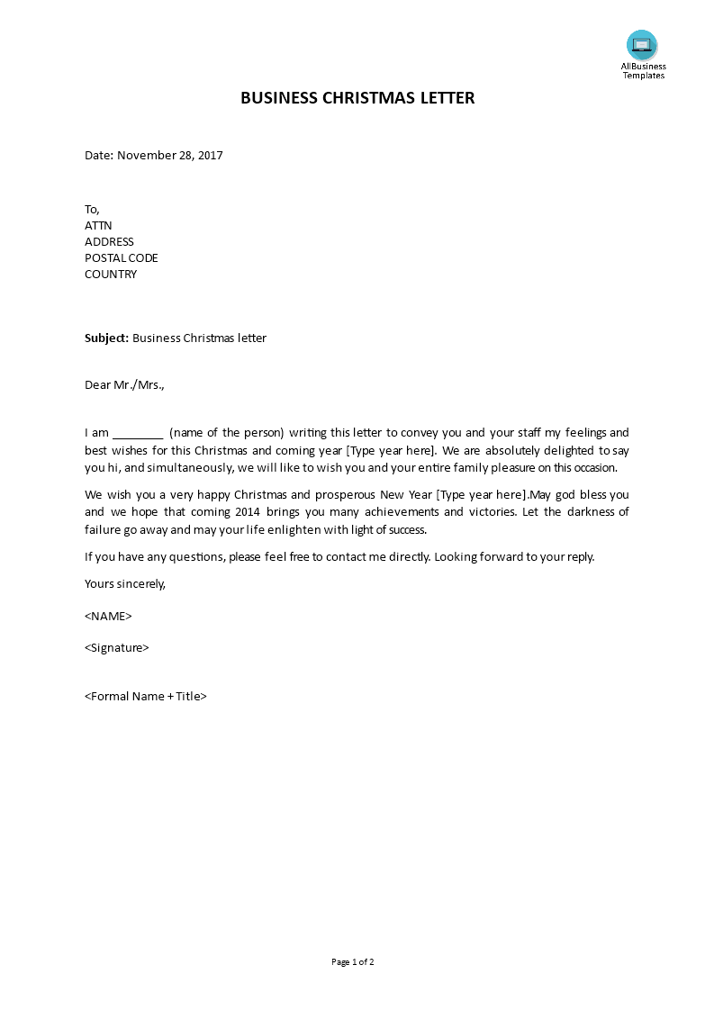 Free the business christmas letter templates at the business christmas letter main image download template cheaphphosting Images