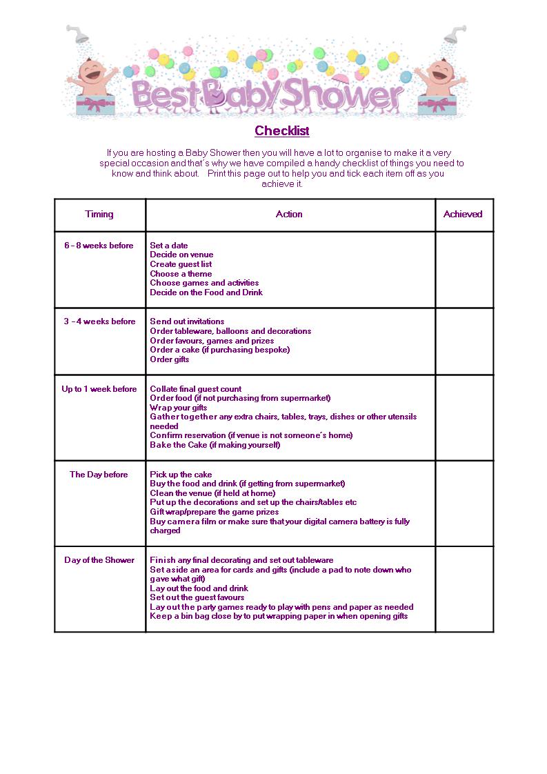Free Best Baby Shower Checklist Templates At Allbusinesstemplates
