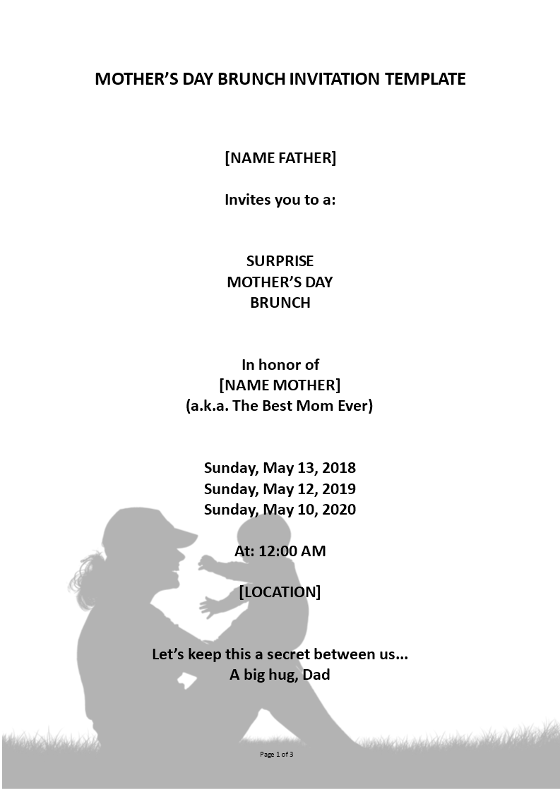Free Mother\'s Day Surprise Brunch Invitation | Templates at ...