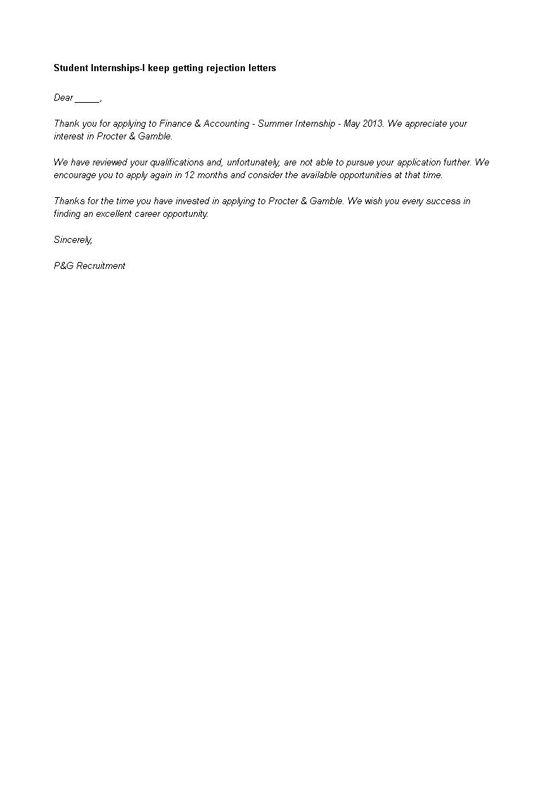 Rejection Letter Student Internship Finance Accounting Job Templates At Allbusinesstemplates Com