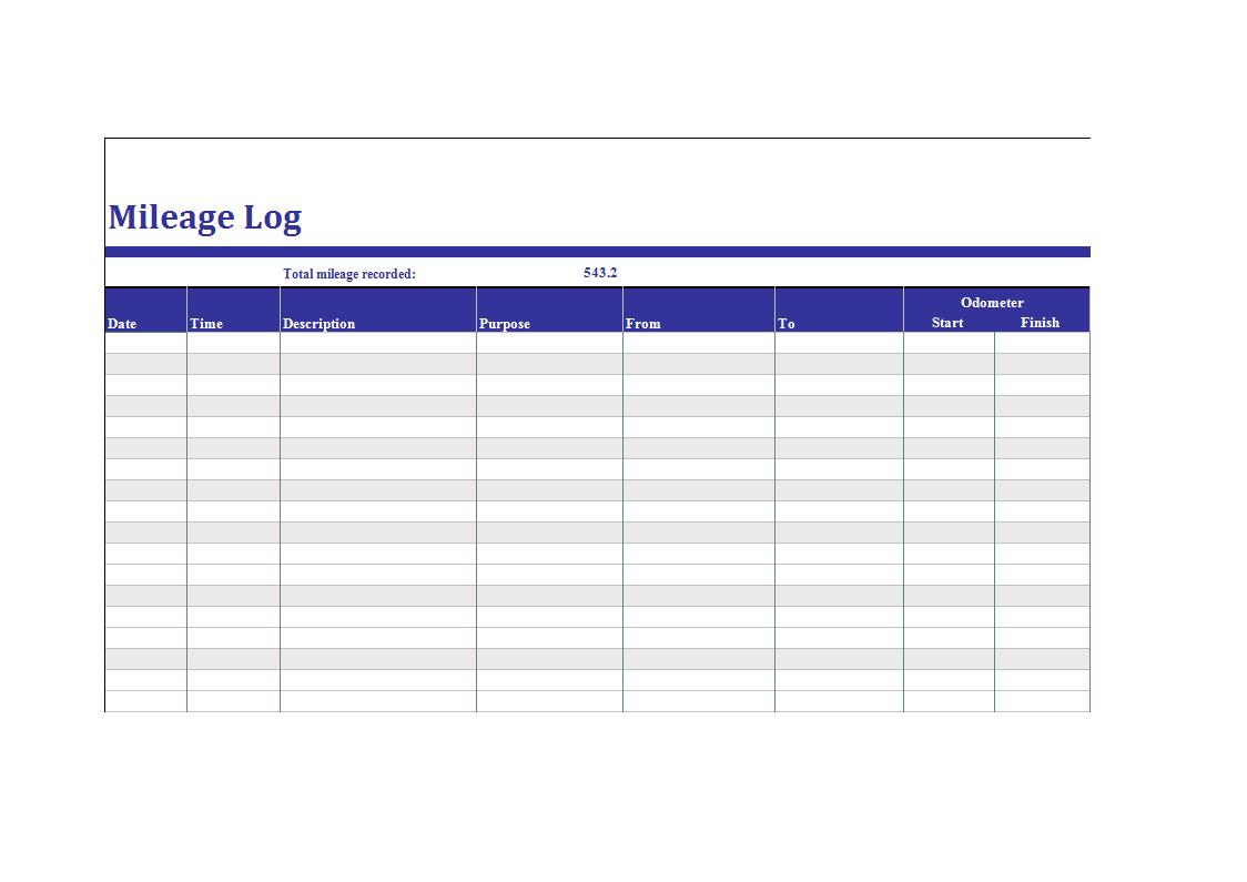 Mileage Log example xls | Templates at allbusinesstemplates