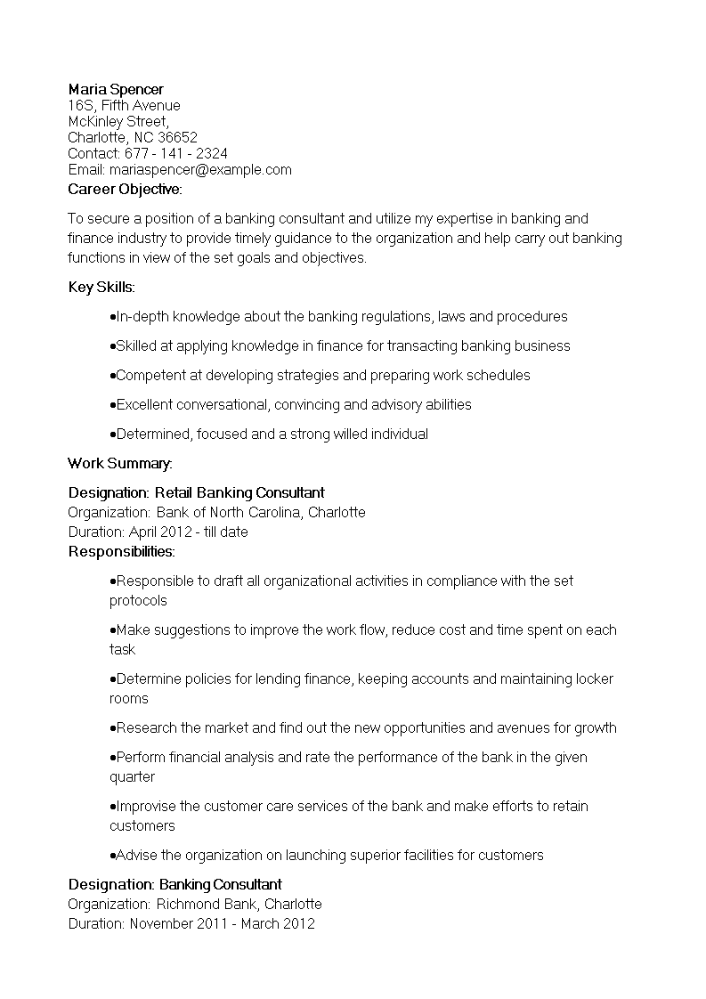 Free Retail Banking Consultant Resume | Templates at ...