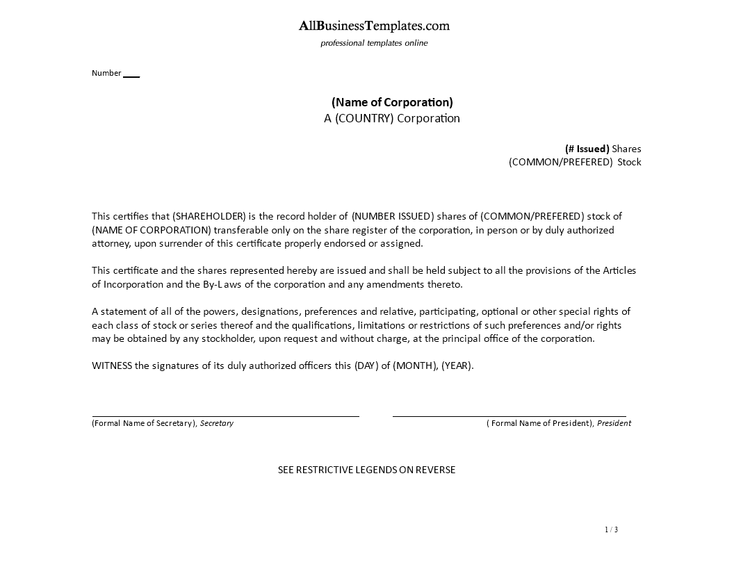 Share Certificate Of Preferred Stock main image