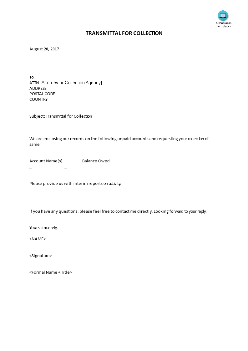 Transmittal For Collection Letter Main Image Download Template