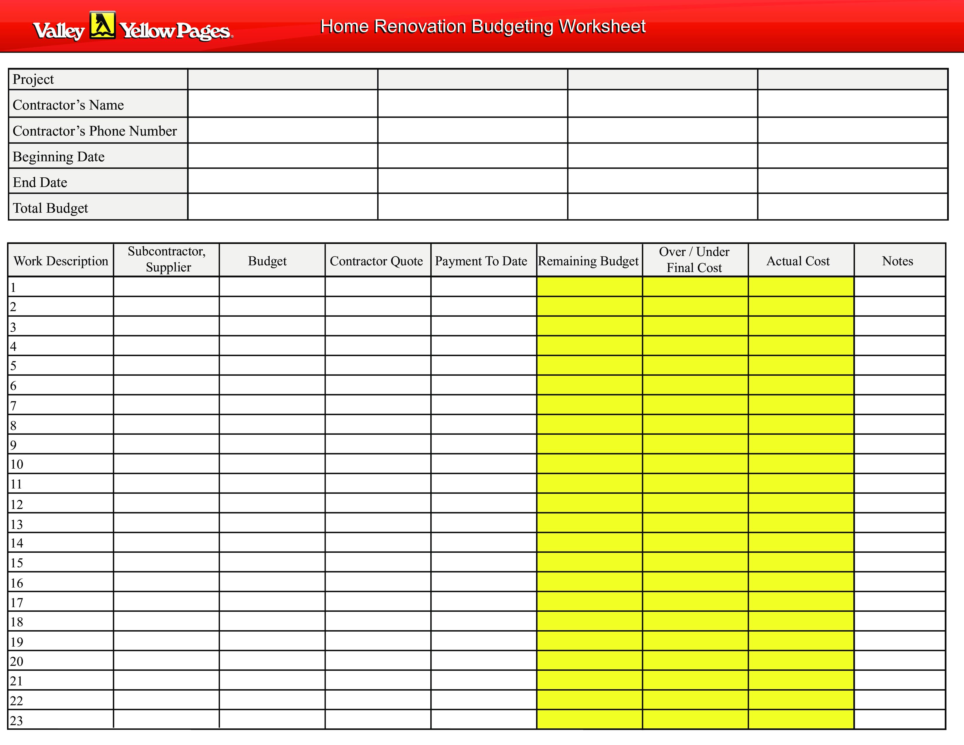 Home Renovation Budget Worksheet Templates At