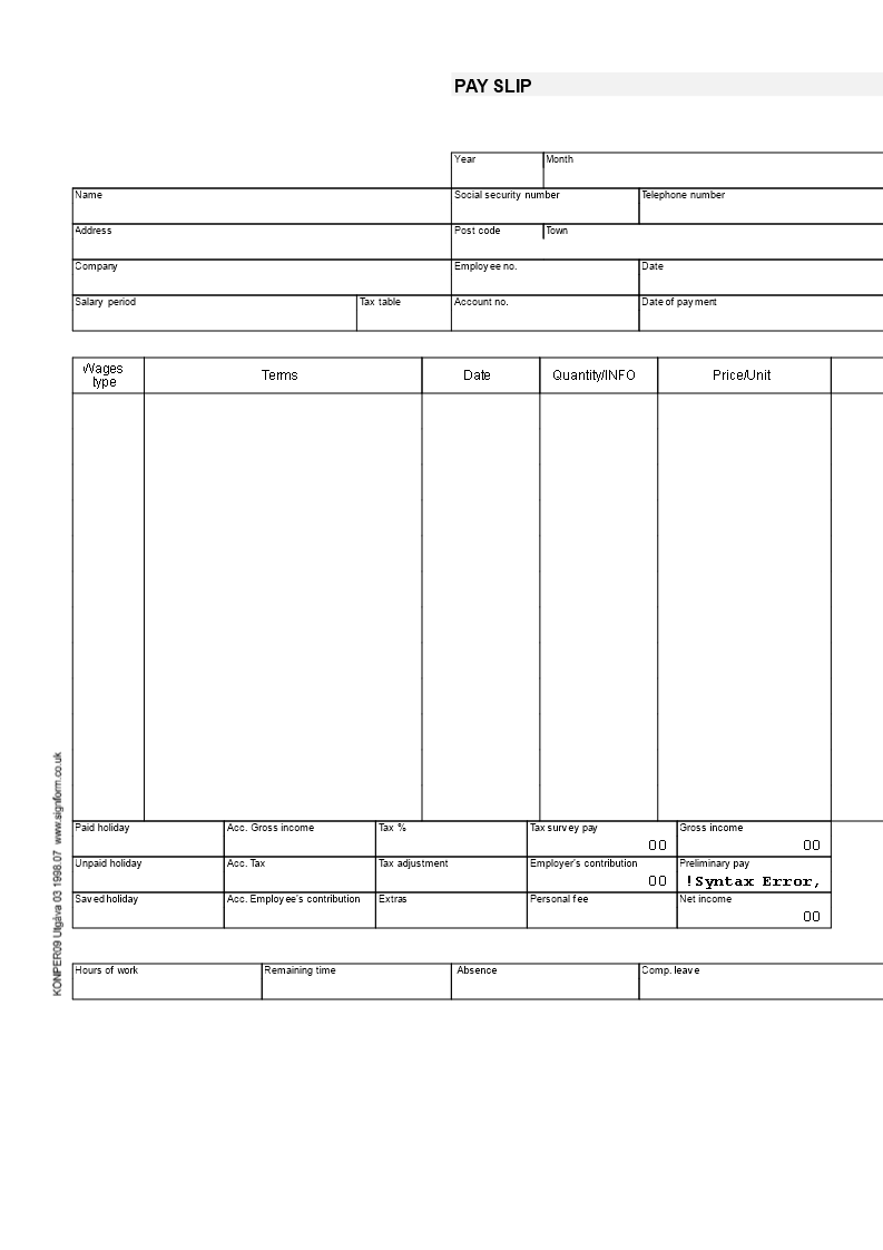 Payslip Template Templates At Allbusinesstemplates Com