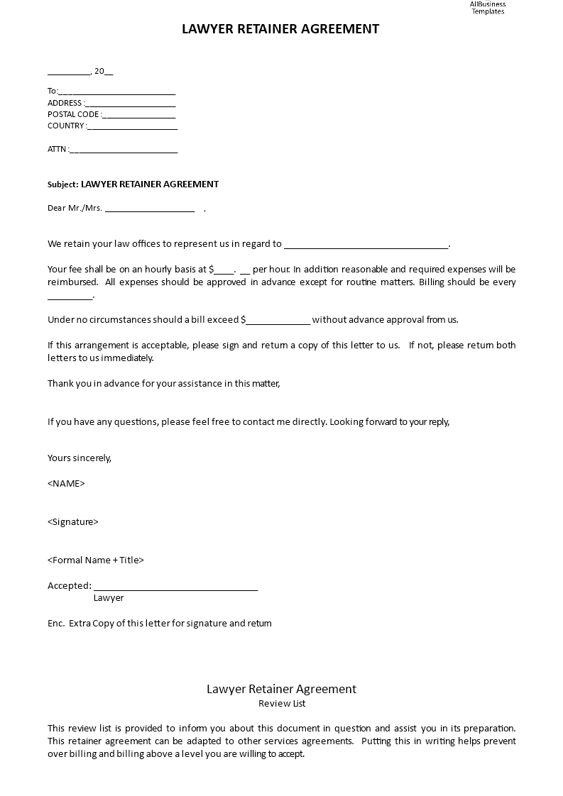 Lawyer Retainer Agreement Templates At