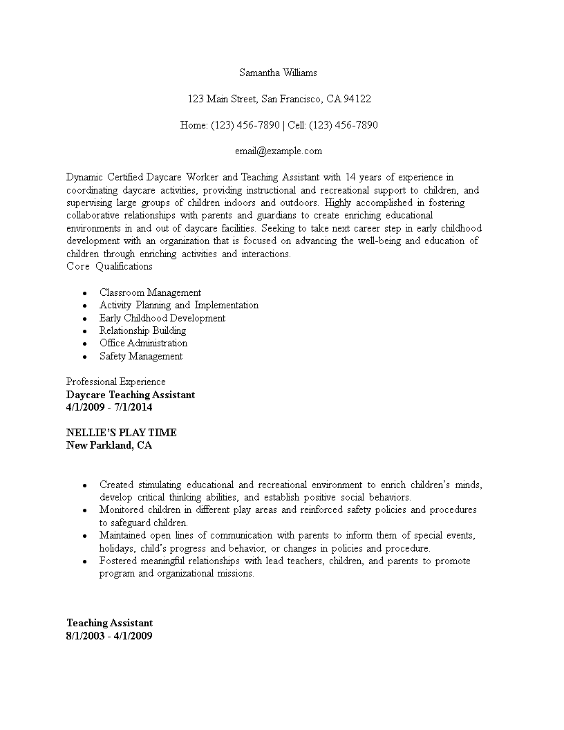 Certified Daycare Teacher Assistant Resume Template