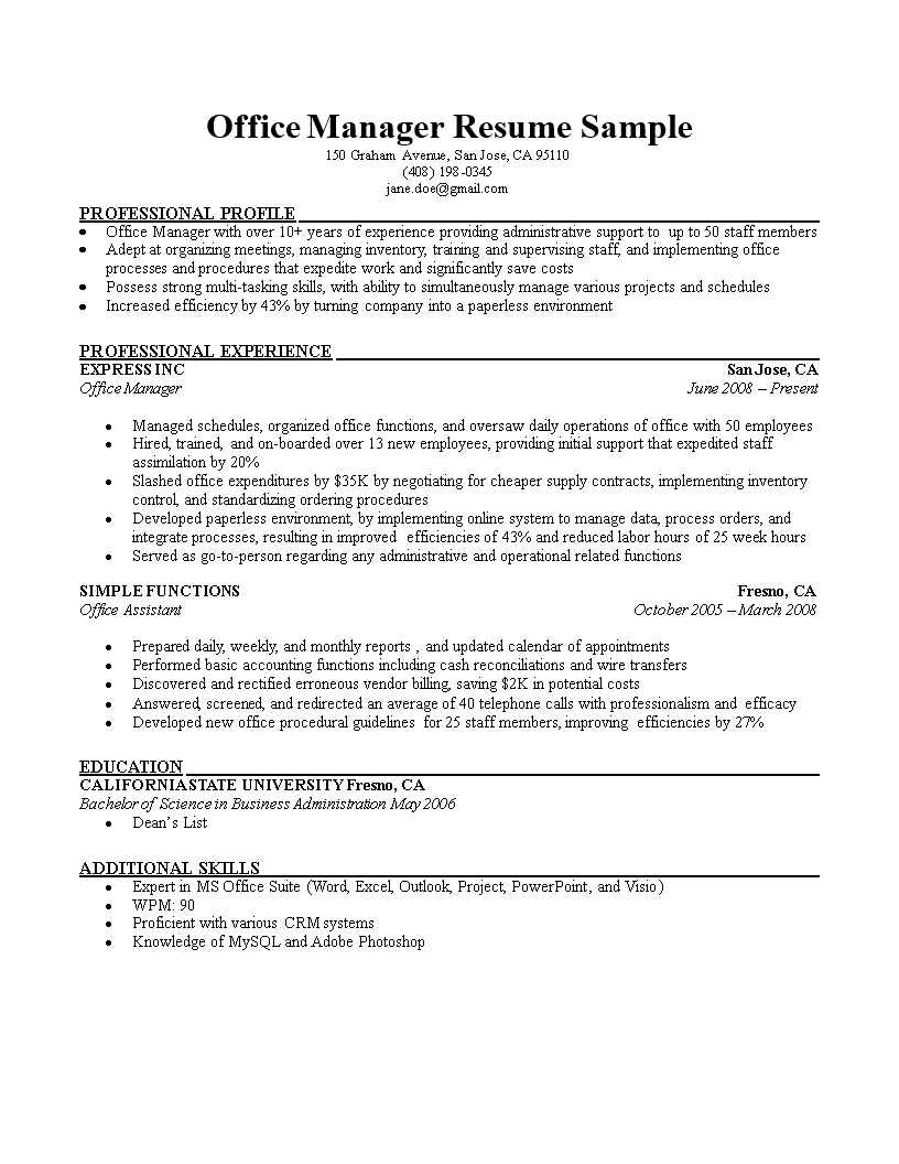 Office Manager Professional Resume | Templates at ...