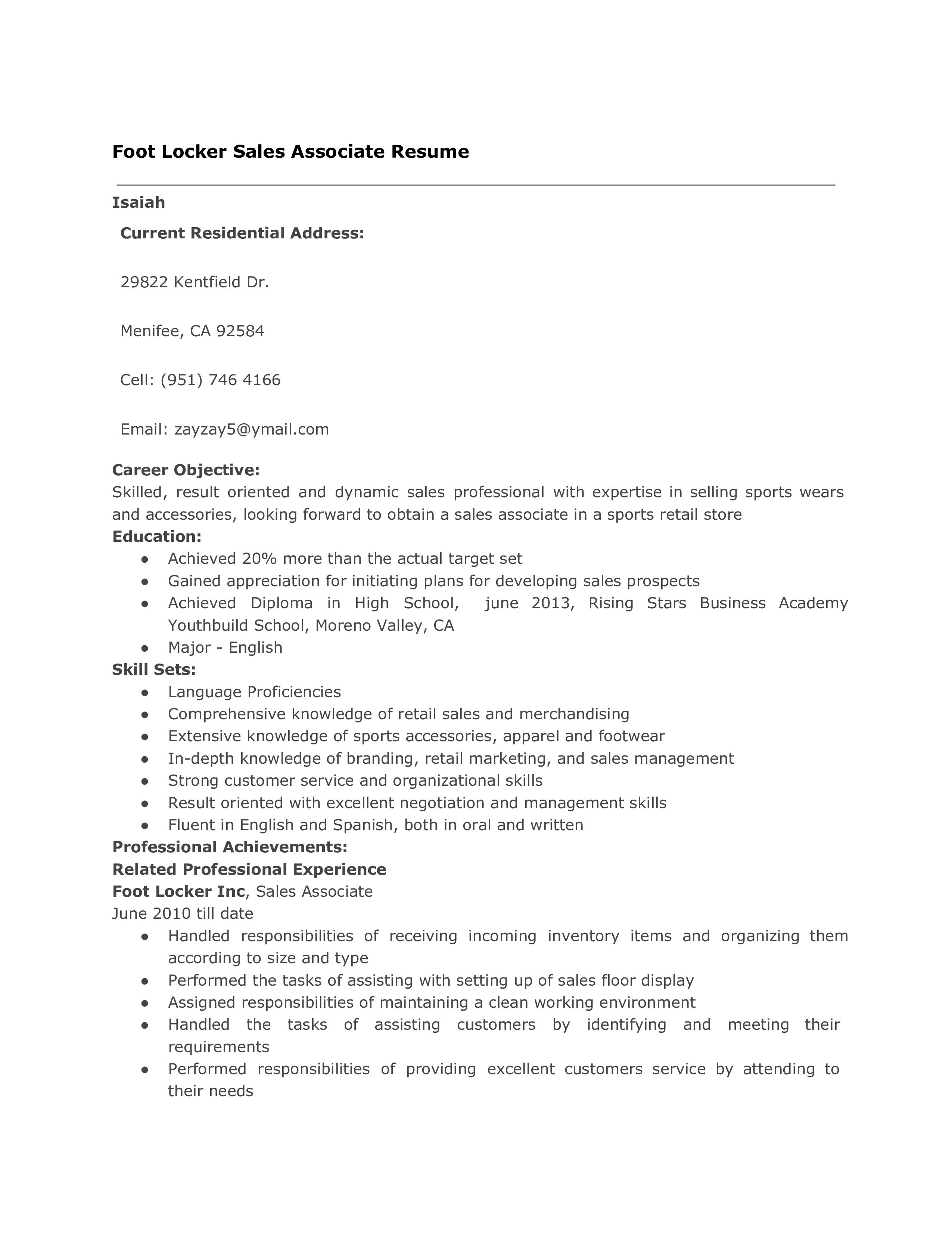 Professional Sales Associate Resume