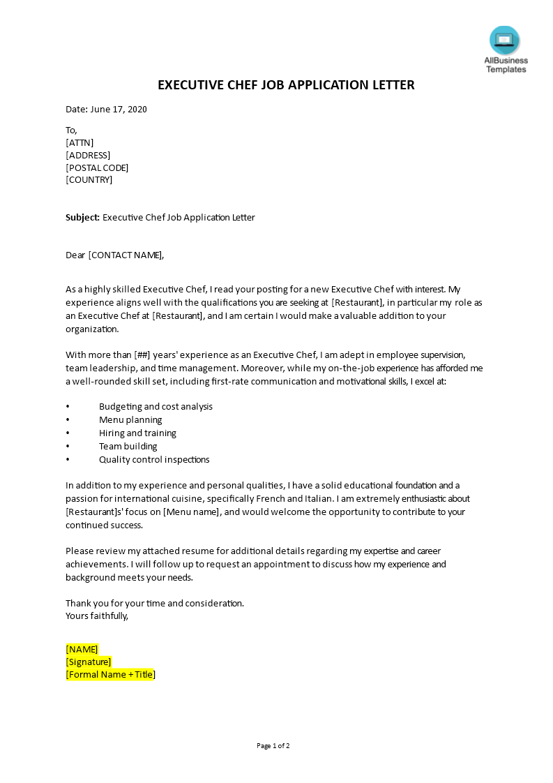 Job Application Letter For Executive Chef | Templates at ...