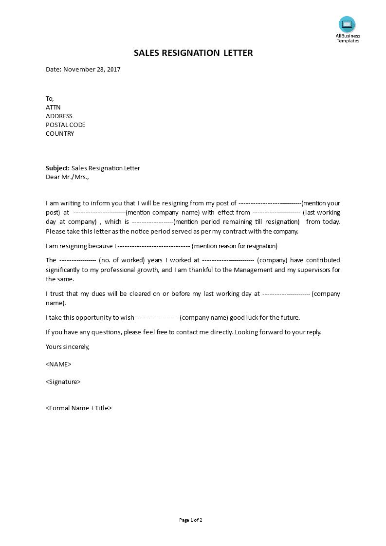 Télécharger Gratuit Sales Resignation Letter
