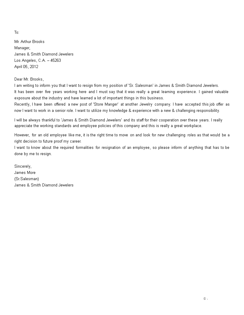 resignation letter for retail store manager main image