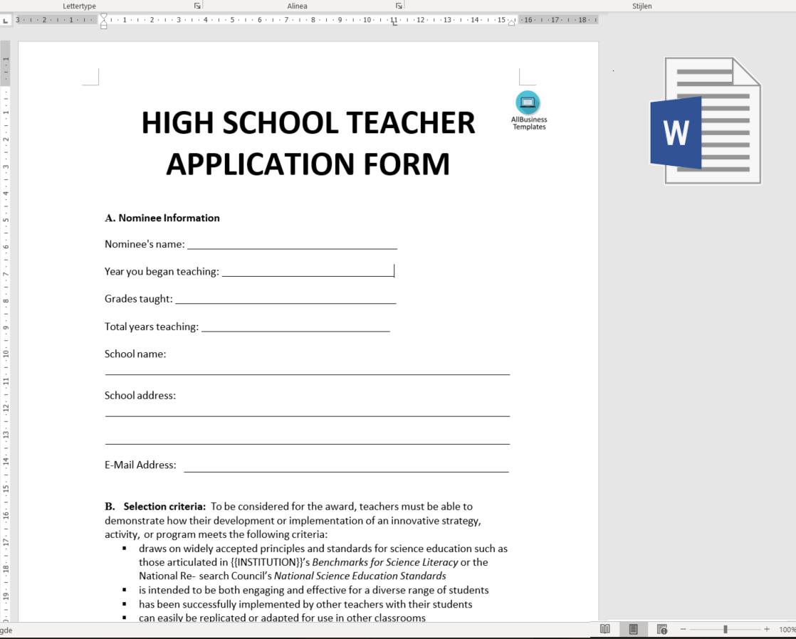 sample job applications for high school students