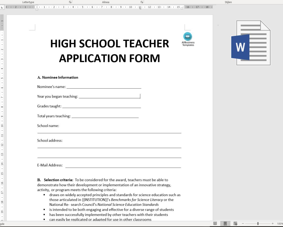 Free High School Job Application Form | Templates at ...