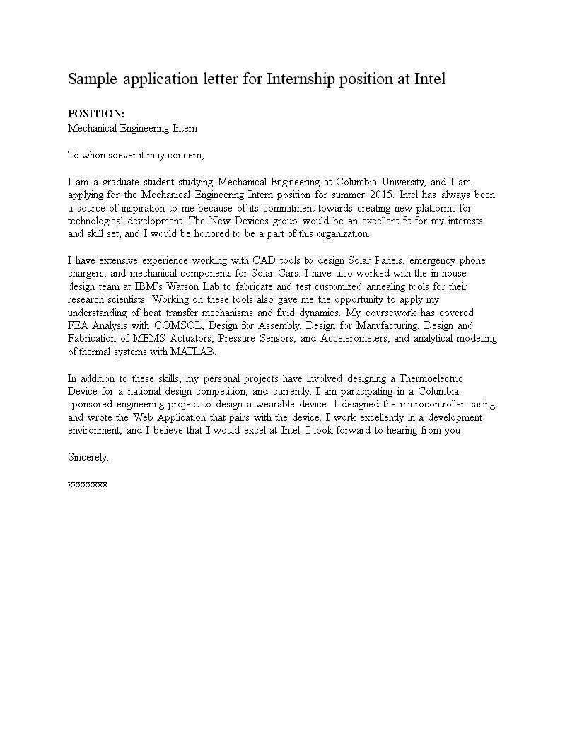 Intern Engineer Job Application Letter | Templates at