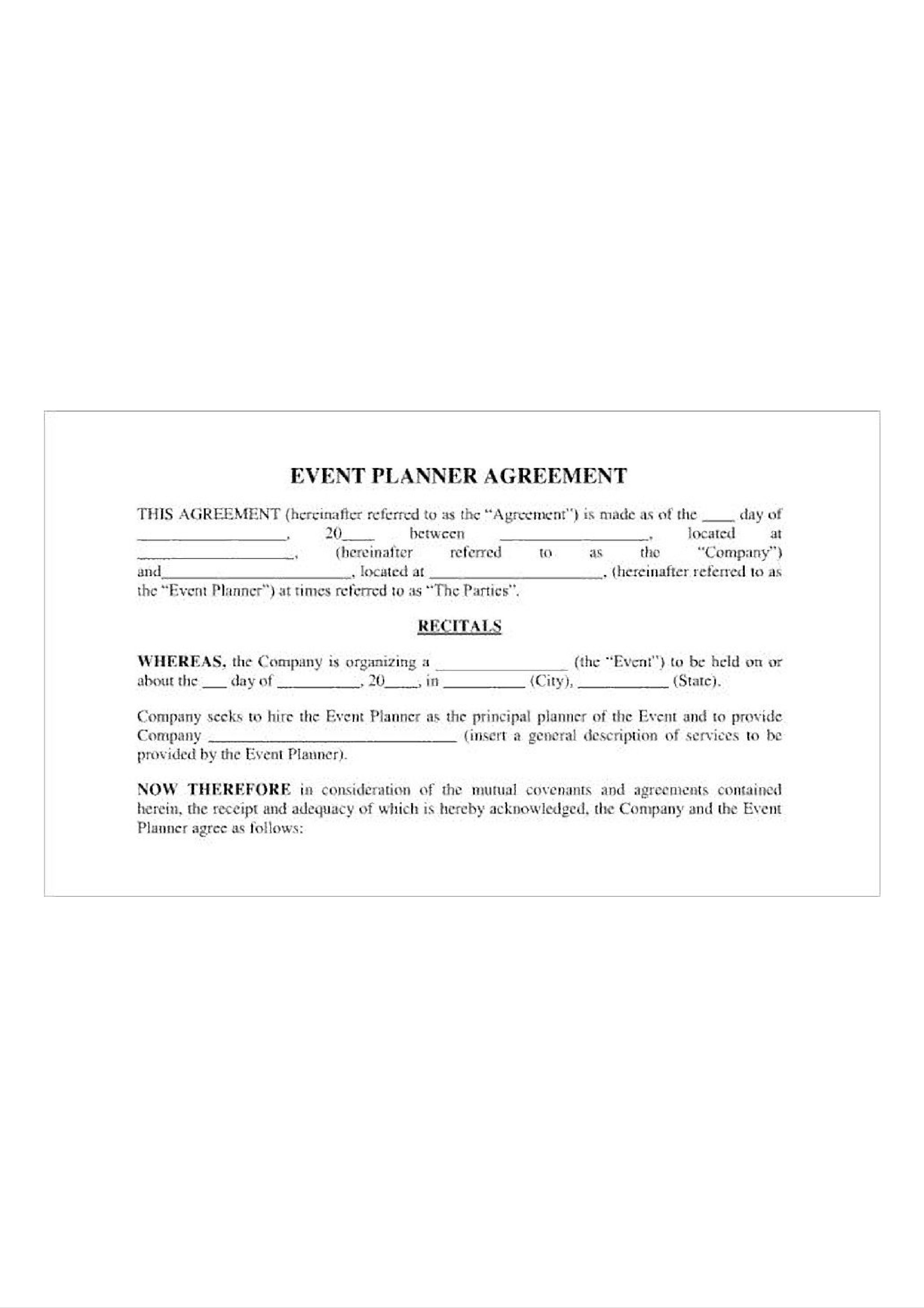 Event Planner Agreement main image