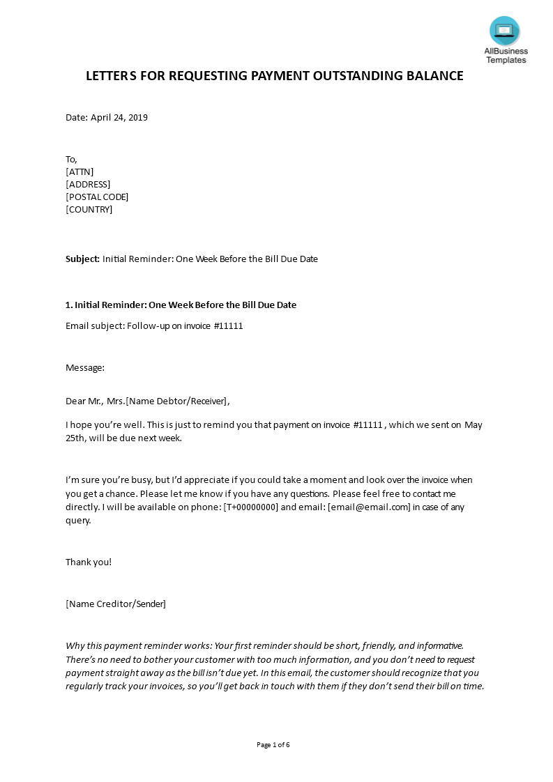 Pending Payment Request Letter | Templates at