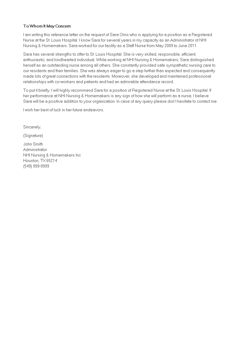Registered Nurse Reference Letter template | Templates at