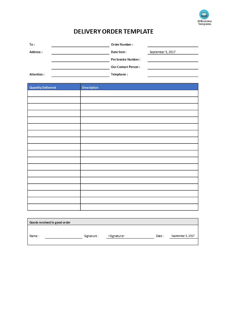 Delivery Order Template Main Image  Delivery Order Template