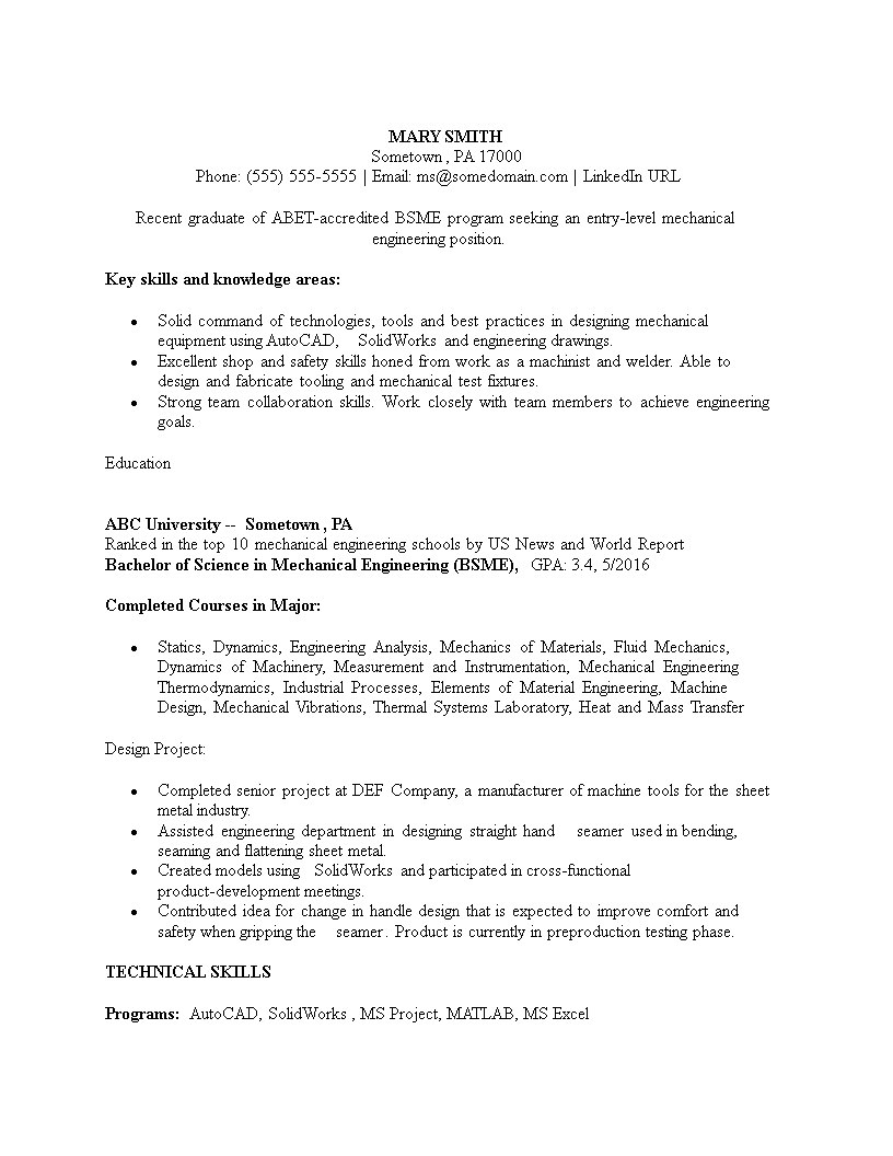 Free Bsme Mechanical Engineering Resume Sample  Templates At