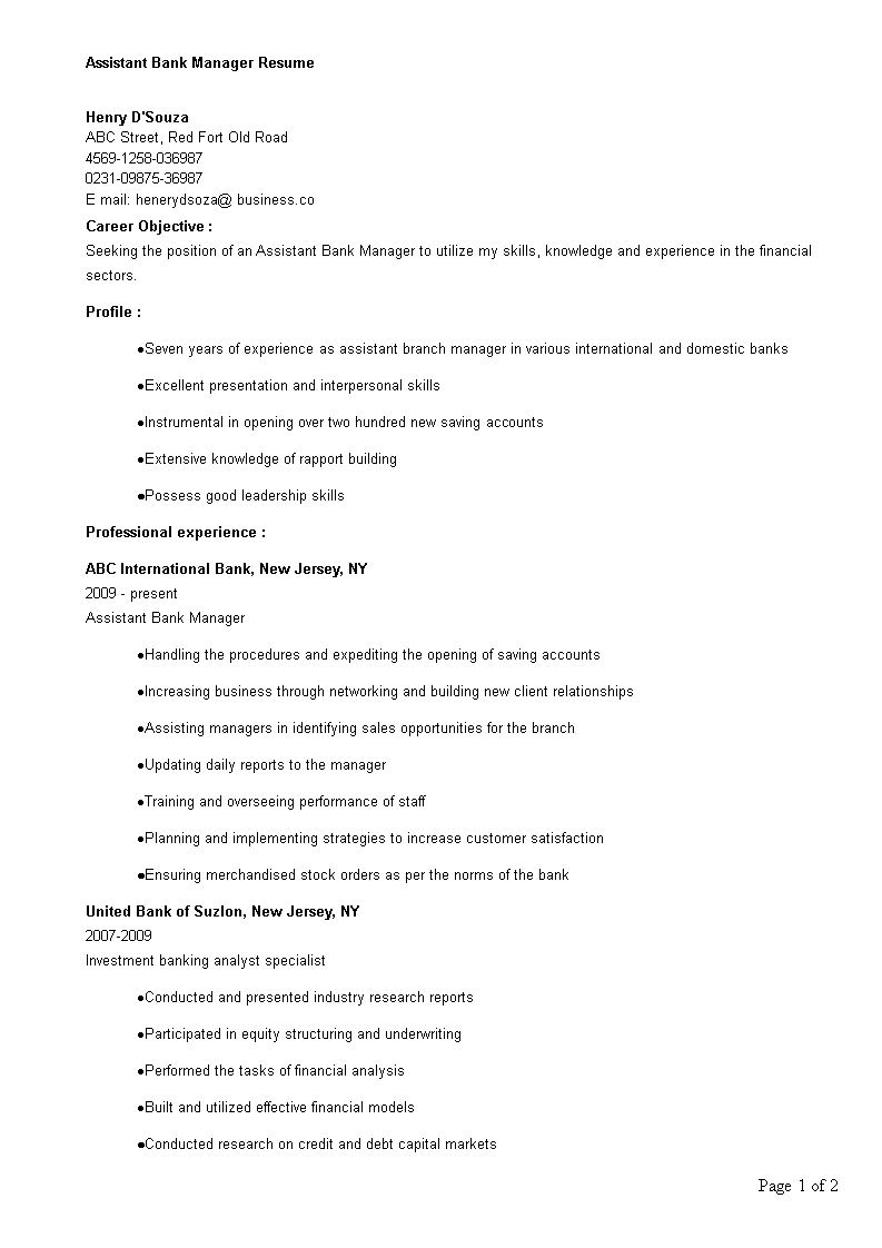 Free Assistant Bank Manager Resume Templates At