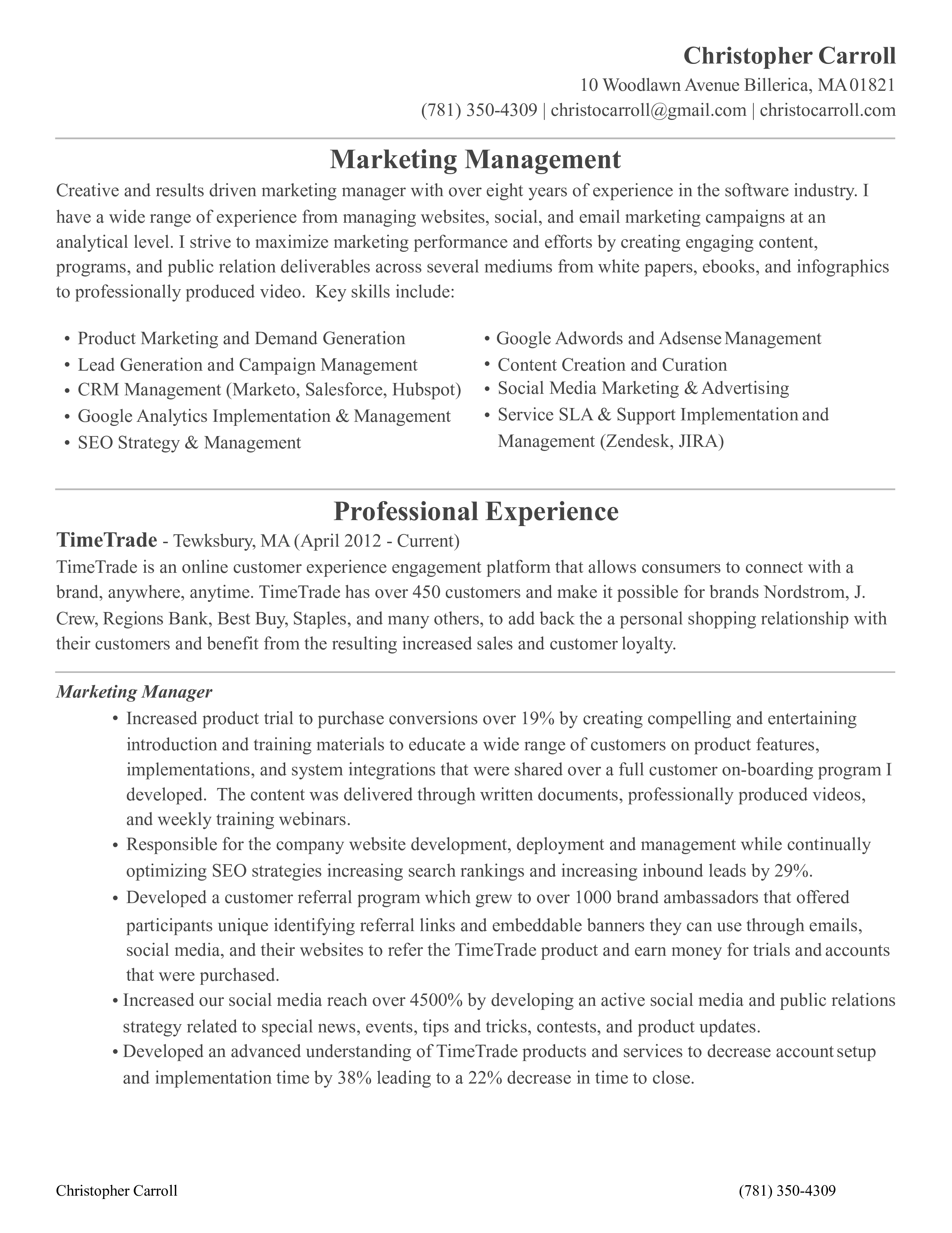 Product Marketing Manager Resume example main image
