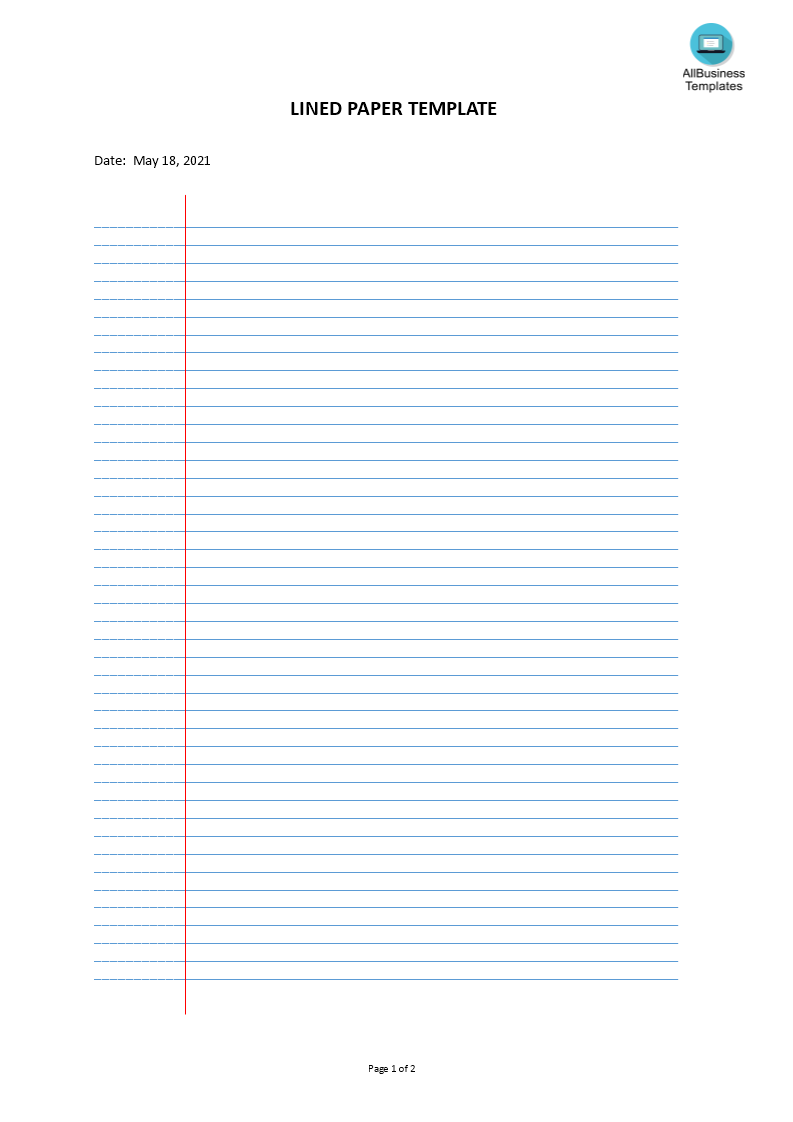 Lined paper template  Templates at allbusinesstemplates.com For Ruled Paper Template Word