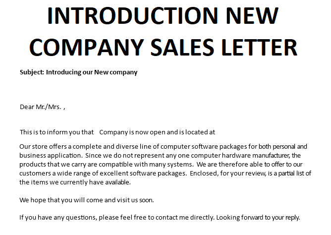 Introducing New company Sales letter main image