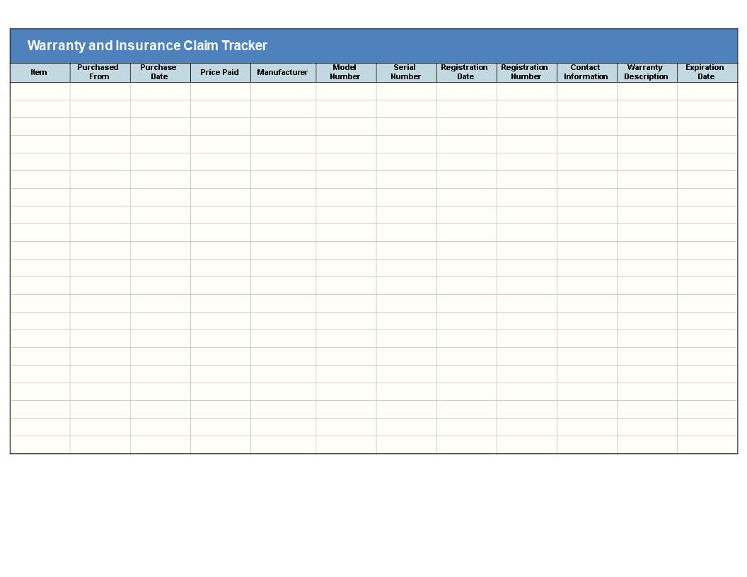 insurance claim tracking template  Free Warranty and Insurance Claim Tracker | Templates at ...