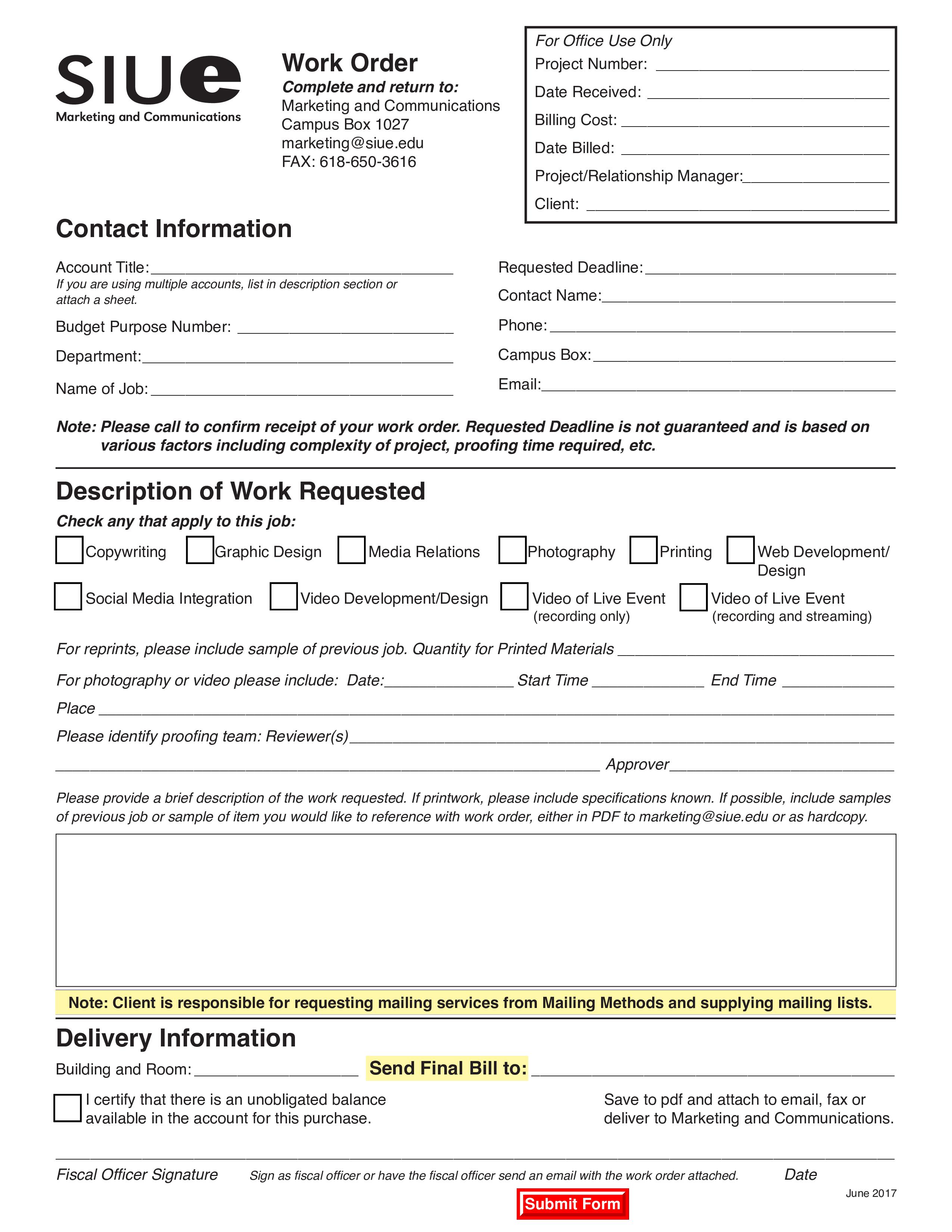 Free Job Work Order Templates At Allbusinesstemplatescom - Graphic design work order template